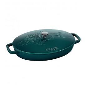 Сковорода овальная для рыбы 32см, с чугунной крышкой