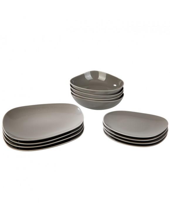 Набор столовой посуды Organic Taupe на 4 персоны, 12 предметов