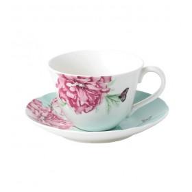 Чашка чайная с блюдцем Everyday Friendship 275 мл, цвет зеленый