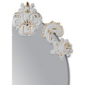 Зеркало овальное без рамы, цвет - белый с золотом 92х53х3 см