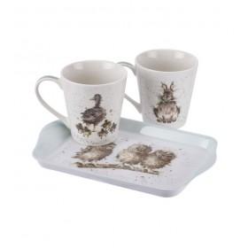 """Набор чайный """"Совы, заяц и утята"""" 2 кружки с подносом"""