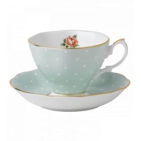 Чашка чайная с блюдцем Polka Rose Vintage 180 мл