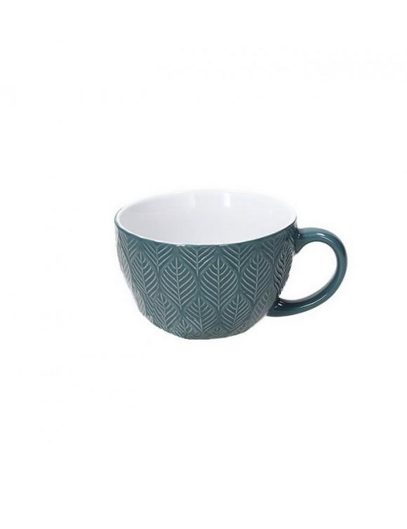 Чашка для завтрака Relief Maya 360 мл, цвет зеленый