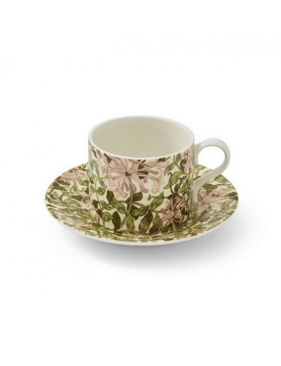 Чашка чайная Morris & Co 280 мл с блюдцем, декор жимолость