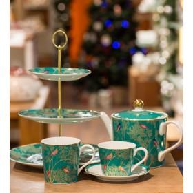 Чашка чайная с блюдцем Chelsea Collection 200 мл, цвет зеленый