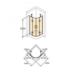 Двустворчатая раздвижная дверь для душа Classics 2 C20605.069.321