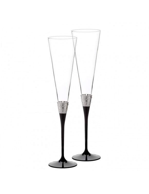 Набор бокалов для шампанского Vera Wang With Love Noir Silver, 2 шт.