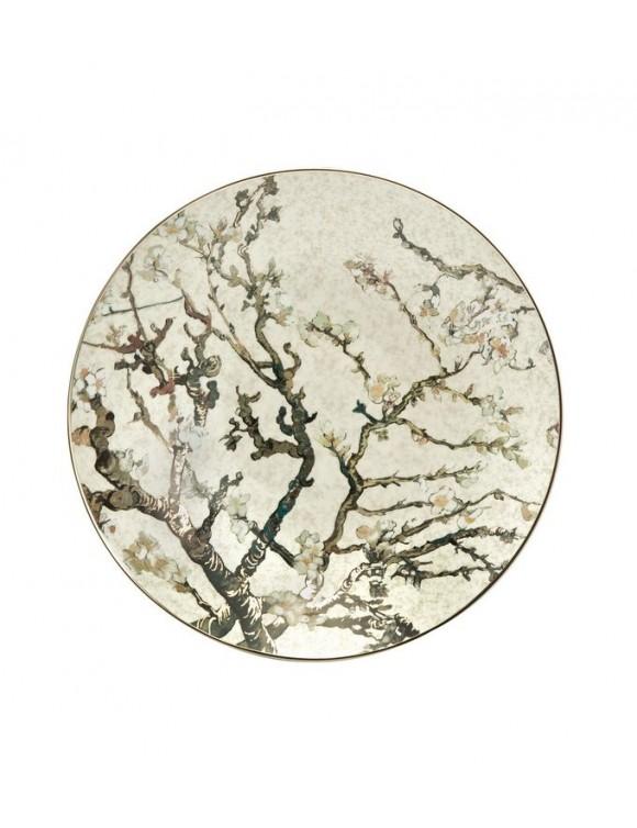 "Тарелка декоративная ""Цветущие ветки миндаля"" 34,5 см, цв. серебристый"