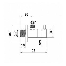 Вентиль угловой для подключения смесителей 1584505-00