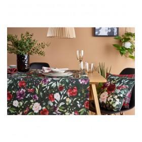 Скатерть прямоугольная Deep Flowers 130x170 см, темно-зеленая