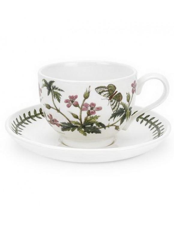 """Чашка для капучино с блюдцем Botanic Garden """"Герань Роберта"""" 280 мл"""